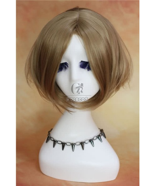 30cm Short Fashion Wig Light Brown Straight Woman  Bob Hair