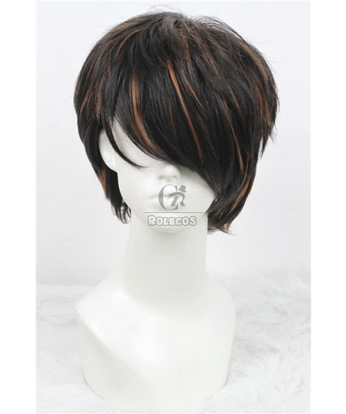 28cm Short  Fashion Wig Mixed Color Straight Men Hair