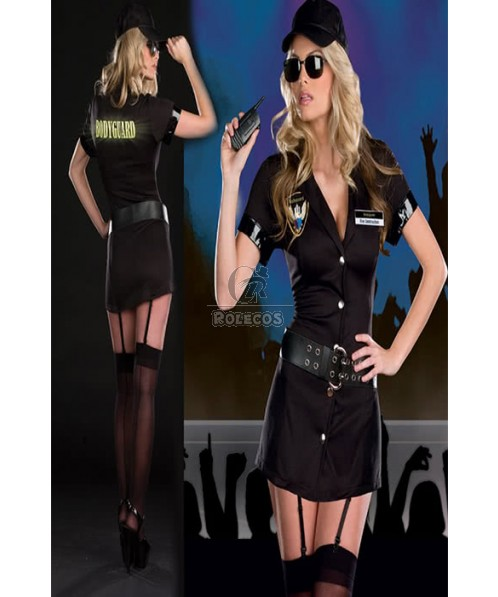Hot Sexy Party Policewoman Costume Black Dress With Cool Hat