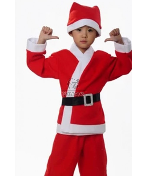 New Style of Boy Christmas Costume with Red Hat  and Black Belt
