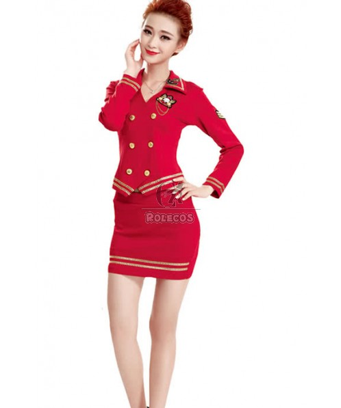 Long Sleeve Sexy Costume Flight Attendant Cosplay Uniform