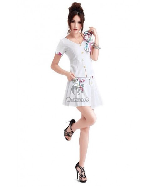 Full Of Charm Flight Attendant Costume White Black Red