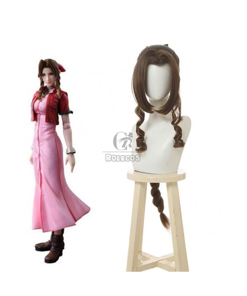 Game Final Fantasy VII Aerith Gainsborough Cosplay Wigs Brown Long Curly Cosplay Wig