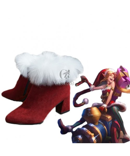 Game LOL Christmas Jinx Red Cosplay Shoes
