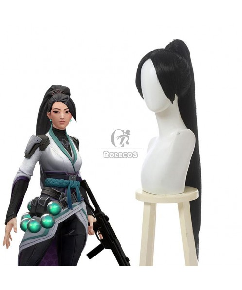 Game Valorant Project A Sage Black Long Ponytail Cosplay Wigs