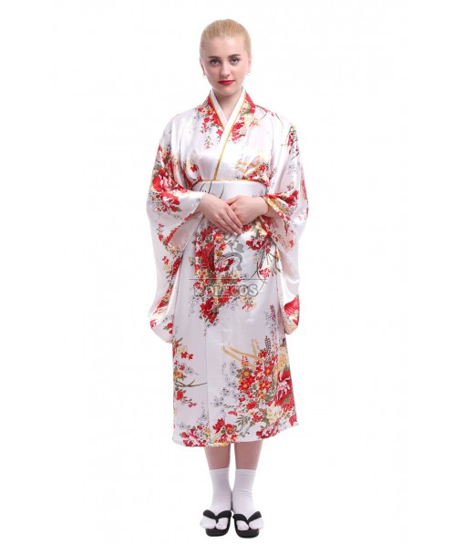 Jananese Women's Kimono Robe With Obi Belt Traditional Costumes