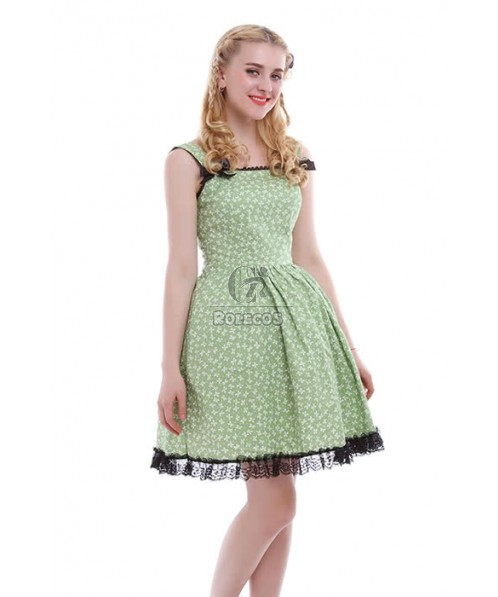 Sweet Girl Green Lace Hemline Strap Princess Party Dresses