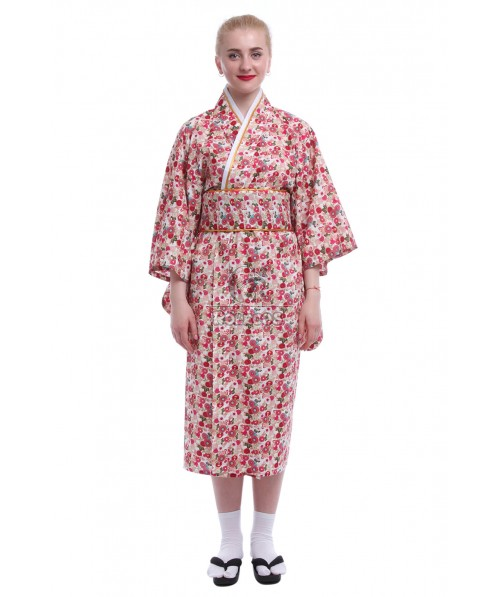 Japanese Women's Gorgeous Traditional Print Kimonos Robe Yukata