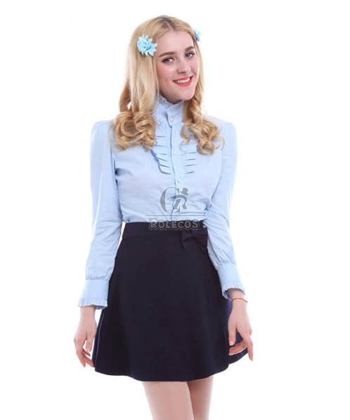 Women Girls Lolita Suit With Long Sleeves Shirts and Skirts Dresses