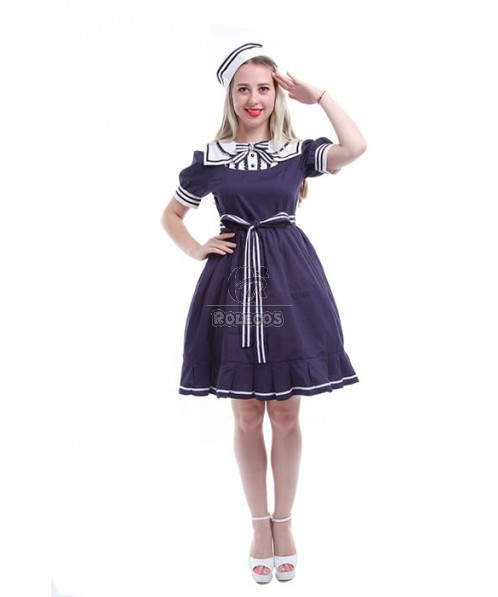 Women Girls Sailor Style Navy Blue Cosplay Dresses Costumes