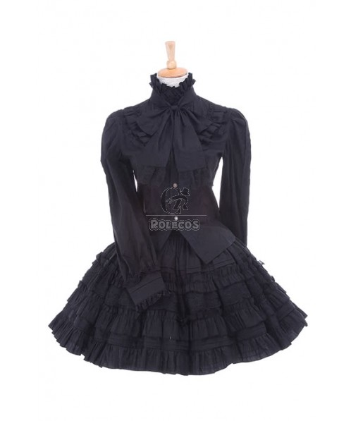 Girls Women Black Retro Lolita Dresses Lacing Shirts