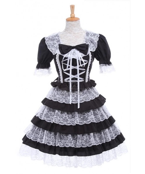 Women Girls Lolita Lace Dresses Black Short Sleeves Bubble Skirts GC198