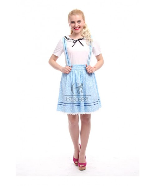 Pleated Suspenders Skirt Short Sleeve Braces Sky Blue Dresses For School Girls