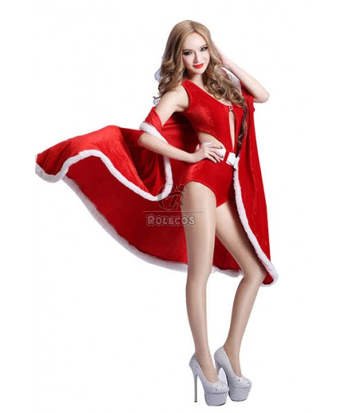 Christmas Jumpsuits Red Women Sexy Cosplay Costume