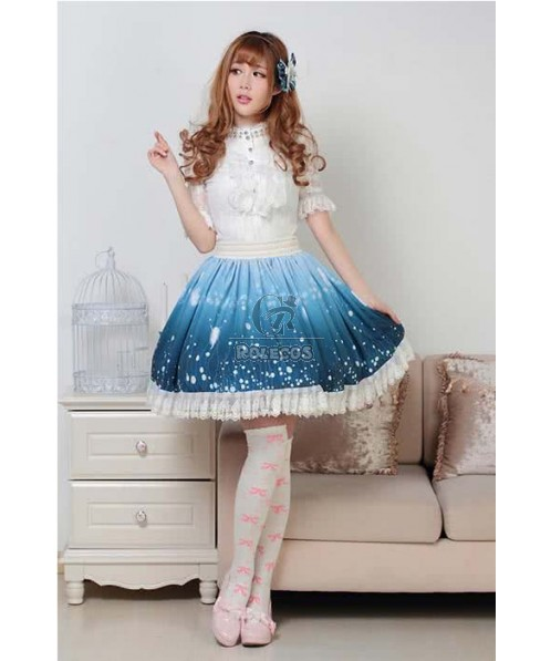 Lolita blue Dress Sweet Daily Highneck Slim beautiful shirtdress long sleeve