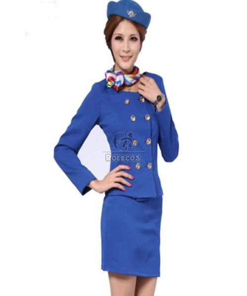 Special Color Distinctive Button Design Flight Attendant Costumes Cosplay Uniforms