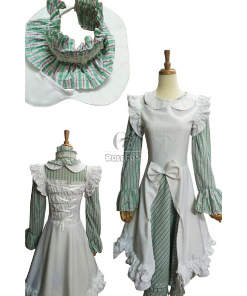 Sweet Pastorale Lolita Dress Long Sleeves Blue mixed white for Cute lady