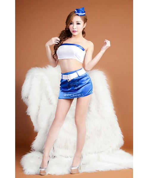 Mix White And Blue Attractive Sexy Flight Attendant Costume