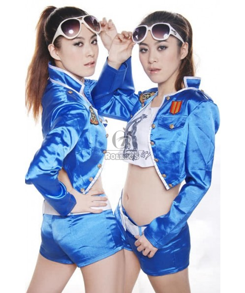 Personality Sexy Racer Girl Costumes Blue Color For Your Selection
