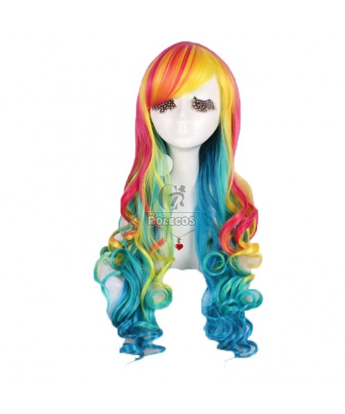 70cm Long Cosplay Wig Rainbow Curly Synthetic Women Cosplay Wigs