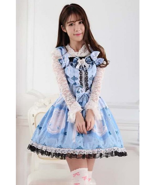 Lolita Dress Sweet Daily Highneck False Two Piece thress colors for choose
