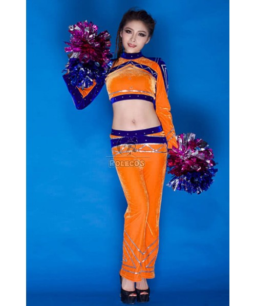 Cheerleader Costumes With Special  Color Velvet Fabric