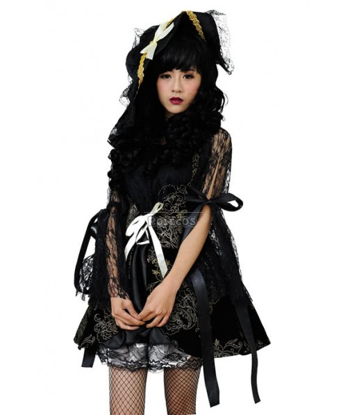 Black Lace Witch Dress Halloween Costumes