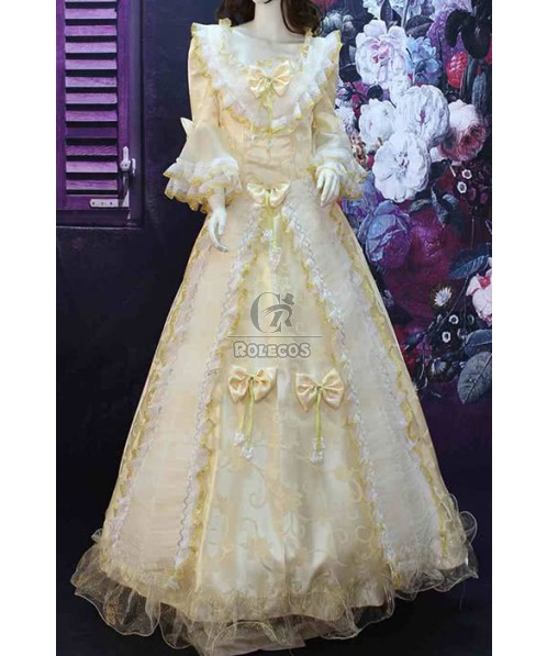 Gothic Victorian Dress Lovely White Lace Bowknot Costume