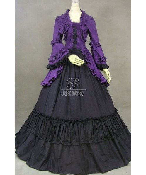 Gothic Victorian Clothing Cosplay Costume Purple Dress