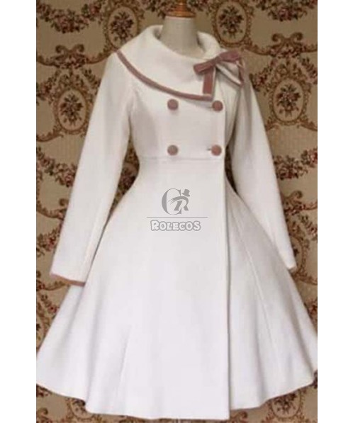 Sweet Lolita Christmas dress Winter Coat Detachable Shawl with button uniform