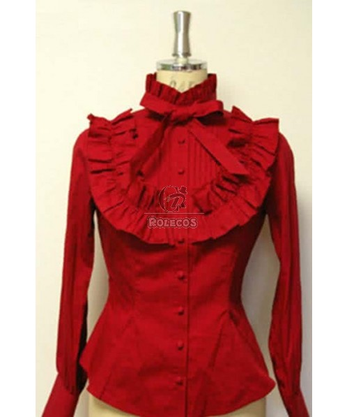 Royal Victorian Classical Lolita Shirt  Red Costume Blouse