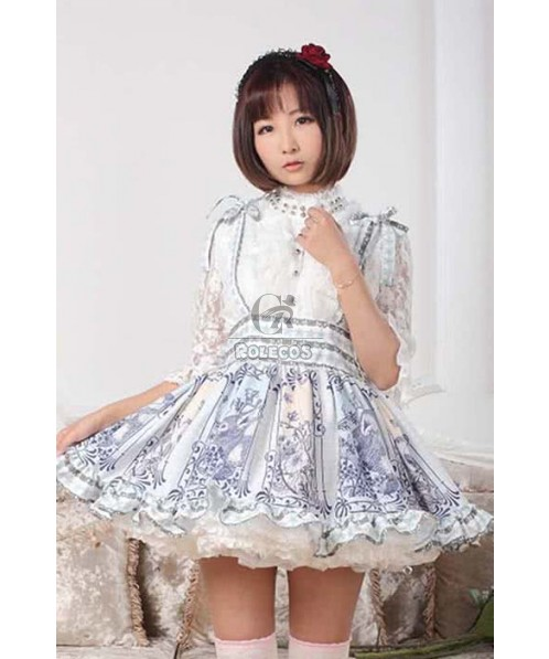 Sweet Lolita Dress Daily Highneck Slim Purple shirtdress