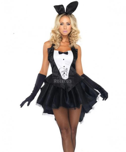 Black Tux And Tails Sexy Bunny Costume  Adult  Dress Animal Strapless Uniform