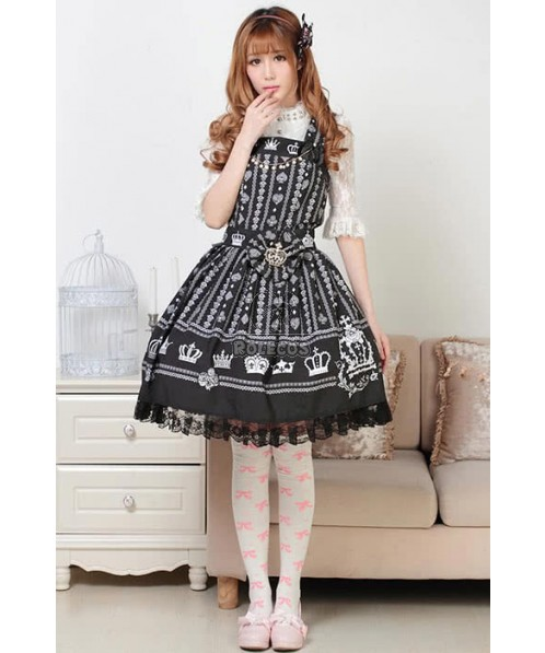 Lovely Princess Lolita Hang Neck Dress Black And White Stripe
