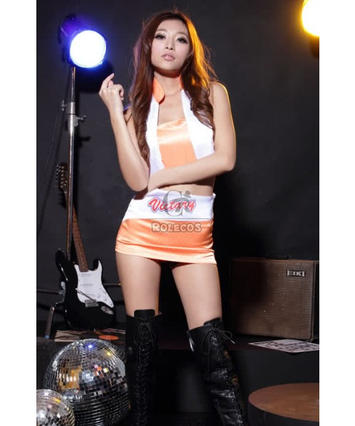 Mix Orange And White Sexy Racer Girl Costumes Free Size