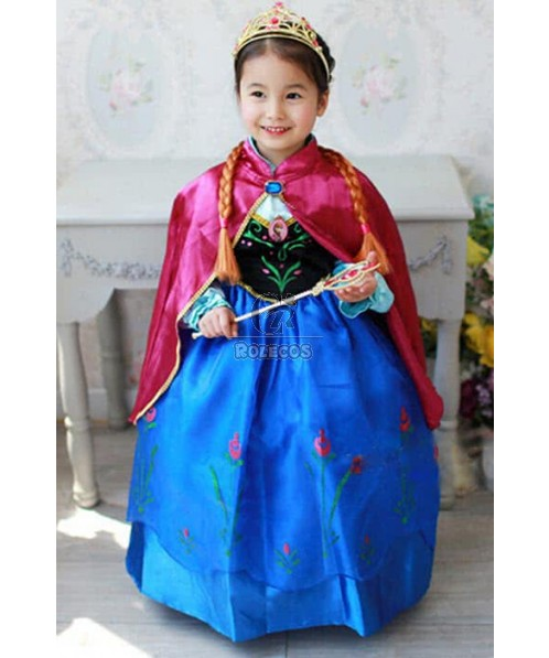 Anna Princess Dress with Cloak Cosplay Costume