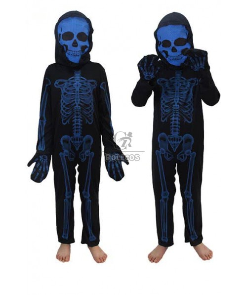 Black with White Human Skeleton Print Romper with Balaclava Halloween Carnival Onesie Scary Costumes For Kids