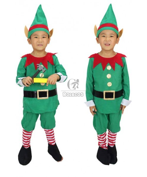 New Fashion Christmas Halloween Costumes With Red Gear Collar Elf Suit For Kid Children