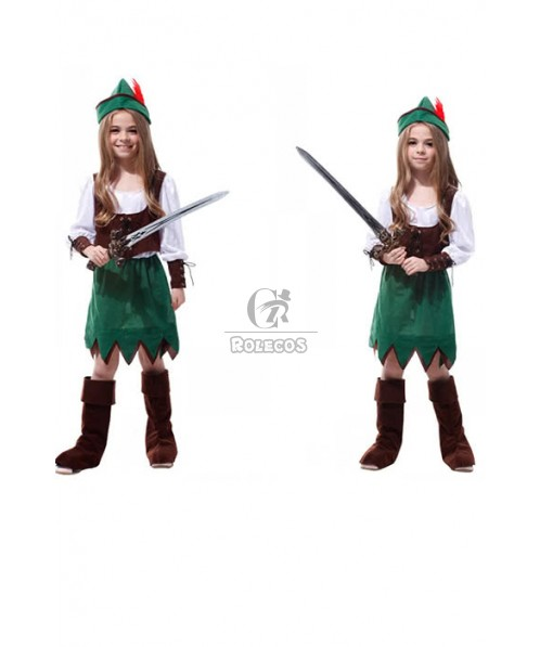 Long Sleeves Brown Corset Green Dress Halloween Carnival Party Pirate Forest Princess Costumes