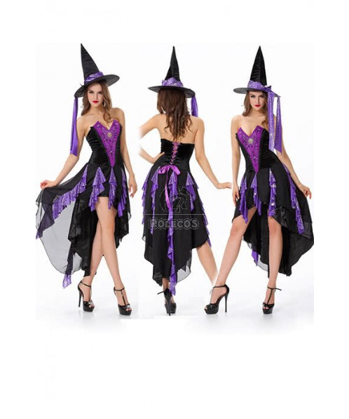 Halloween Witch Costume Magician Cosplay Purple Dovetail Dress