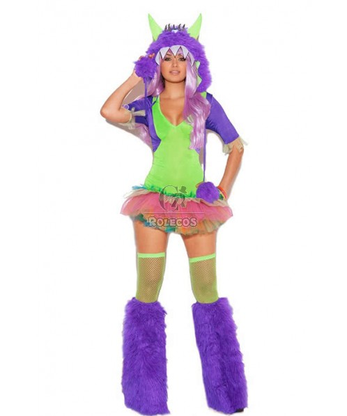 Girl fancy fur costume party costume dress including dress hat and leg wear