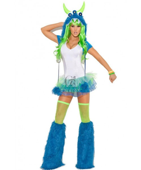 Fashion Fur Strapless Blue Women Cosplay Costumes