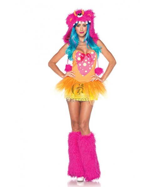 Sexy Red Halloween Lady Party Fur Animal playing Cosplay Costume