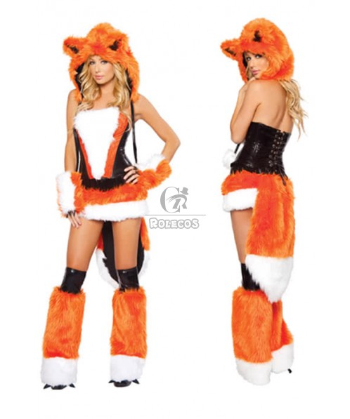 Woman's Sexy Halloween Animal Cosplay Costumes Leather Fur Fire Fox Orange Role Play Disfraces Masquerade Clothes