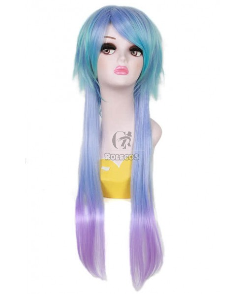 70cm Mixed Color lolita wig Straight Fade Cosplay hair