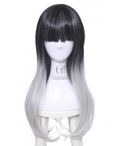 Fashion Lolita Long Black Mixed White and Gray Synthetic Cosplay Wigs