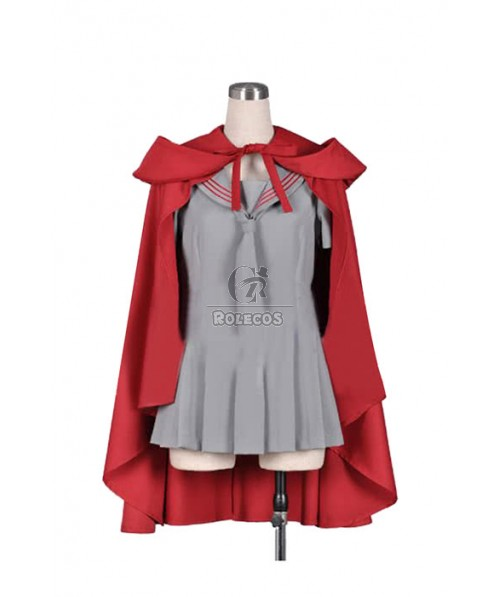 ZONE-00 Ruiko Cosplay Costume With Cool Red Cloak