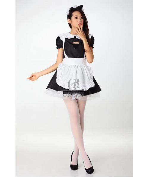 Japanese Maid Black Dress White Apron Girls' Cafe Overalls Cosplay Costumes