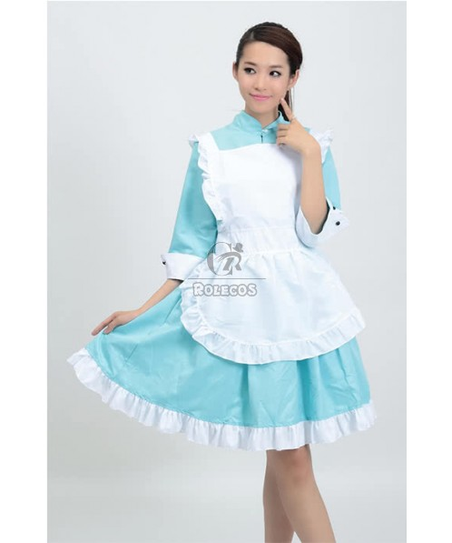 Sky Blue Dress White Apron Japanese Maid Cosplay Costumes