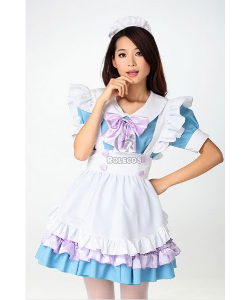 TANAKA.L Blue Dress Japanese Maid Lolita Cosplay Costumes
